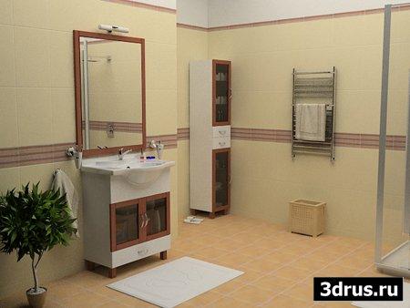 3 сцены интерьера ванных комнат компании Маркела для 3dsmax 8, vray 1.5 r3
