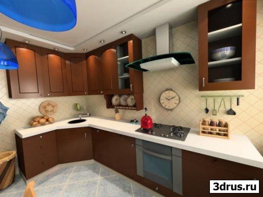 3d модель кухни и спальни