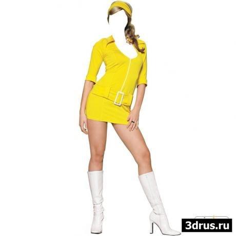 Шаблон для photoshop - Девушка в желтом