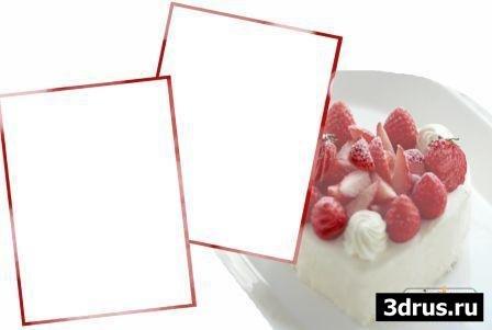 Рамочка для Photoshop - Торт с клубникой