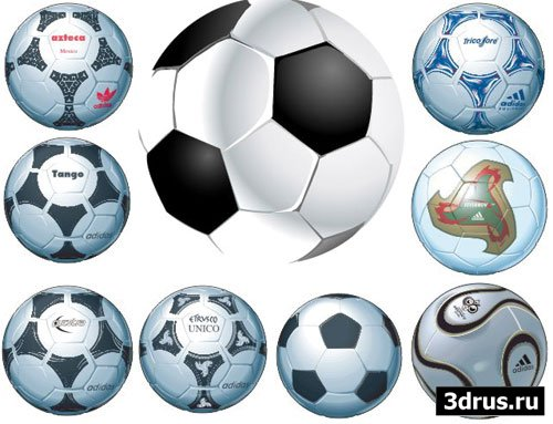 Футбольные мячи - векторные иллюстрации