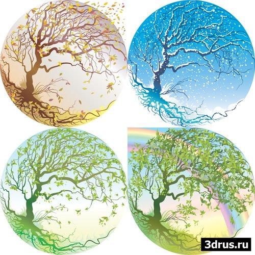 4 сезона - векторные иллюстрации