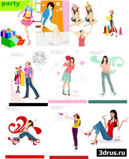 Девчата - векторный клипарт