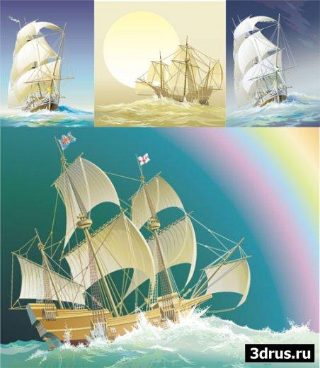 sailing ships - векторные иллюстрации