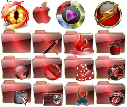 Блестящие красные иконки