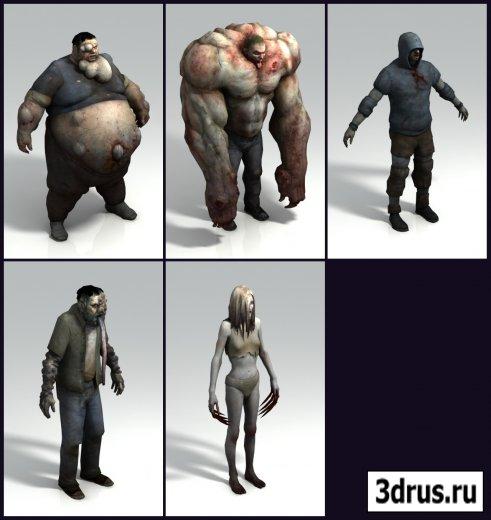 Персонажи игры «Left 4 Dead» в формате 3D MAX (Зараженные)