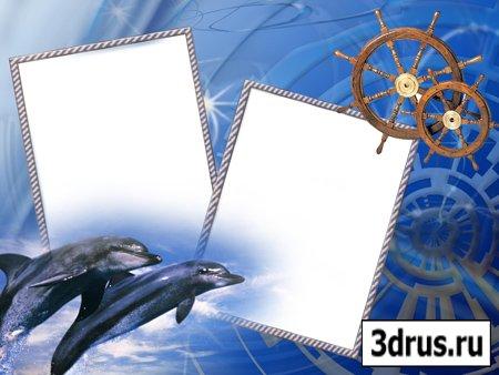 Рамка для фотошоп - Дельфины