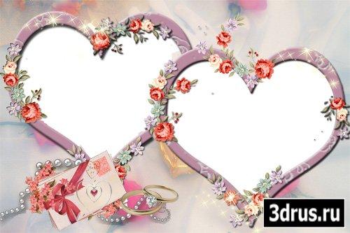 Свадебная рамочка - два сердца (PSD)