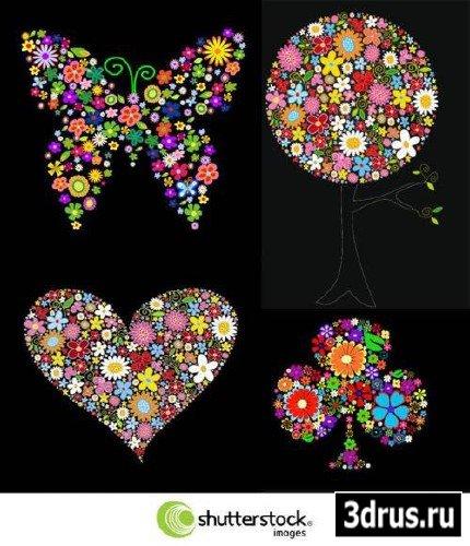 Flower Figures on Black Backgrounds -Векторный клипарт