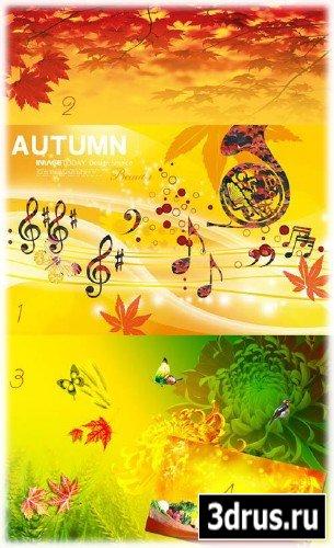 Золотая осень - шаблон для фотошоп  (PSD)