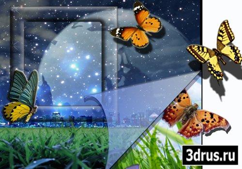 Шаблон-рамка для фотошопа «Бабочки»