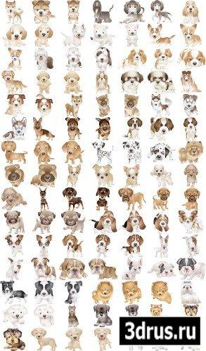 Сборник векторных клипартов - Собаки