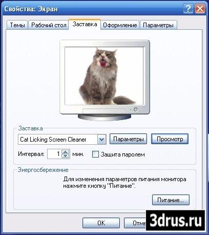 Скринсейвер - Кошка лижет экран
