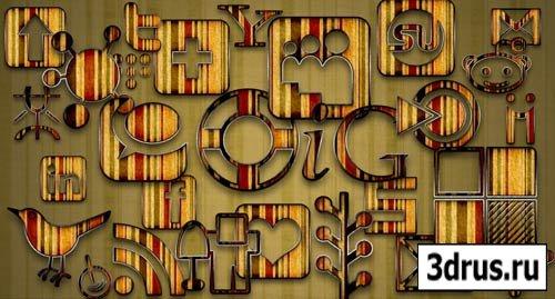 Набор социальных медиа иконок - Grunge Striped  Icon Pack