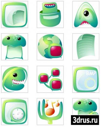 Креативные зеленые иконки в  PNG