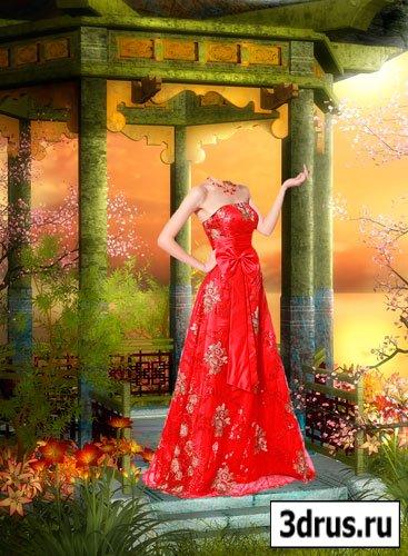 Шаблон для фотошопа Красавица с Востока в красном платье