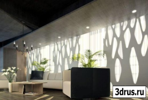 3D model. The modern style of the interior reception area.