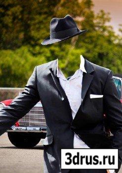 Шаблон для фотошопа – В стильном сером костюме
