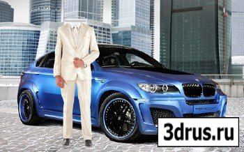 Шаблон для фотошопа – Мужчина в белом возле BMW