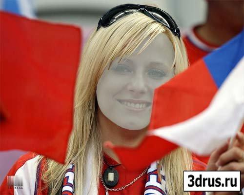 Шаблон для фотошоп - Болельщица на EURO-2012