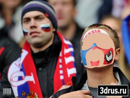 Шаблон для фотошоп - Российские болельщики на EURO 2012