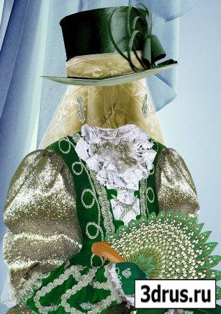 Шаблон для фотошоп – Леди в зеленом