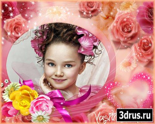 Очень красивая рамочка для фотошопа с розами и ромашками для настоящей цветочной феи