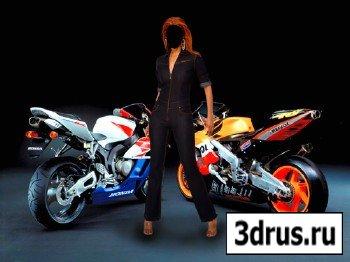 Шаблон для фотошопа – Женщина возле мотоцыклов