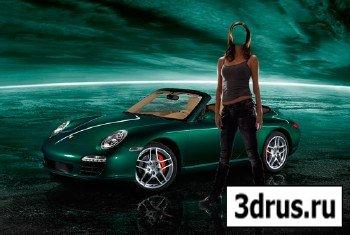Шаблон для фотошопа – Женщина возле зеленого Порше