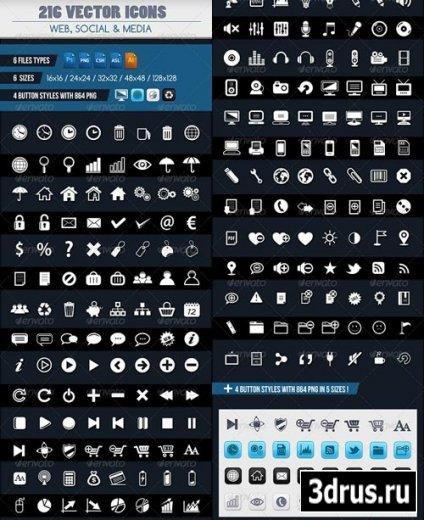 224 векторных иконки на все случаи жизни