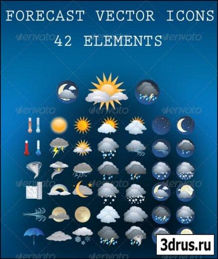 Прогноз погоды - векторные иконки