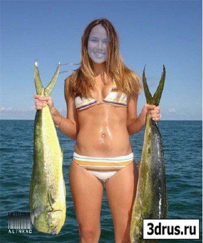 Шаблон для фотошоп - Море, рыбалка!
