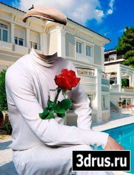 Шаблон для фотошопа – Мужчина с розой в белом