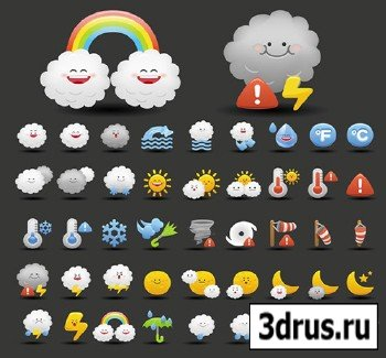 Vector Cartoon Weather Icons