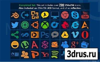Metro Uinvert Dock Icon Set - 725 Icons