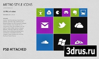 METRO Styled Icons PSD/PNG