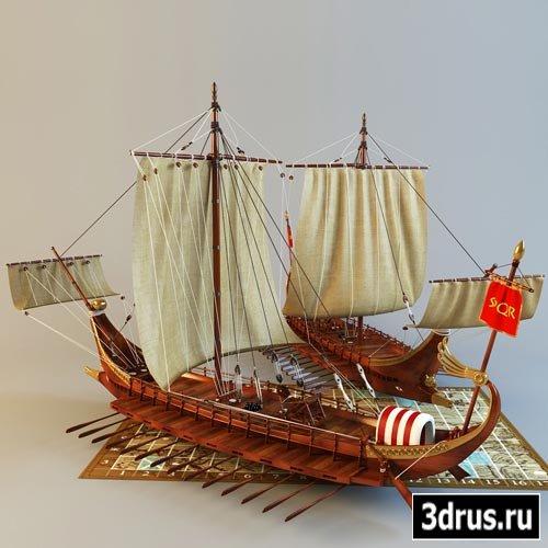 3D модель Галеры / Roman galley battle
