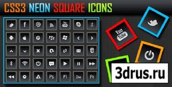 CodeCanyon - CSS3 Neon Square Icons - Buttons
