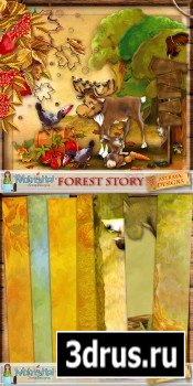 Scrap Set - Forest Story PNG and JPG Files