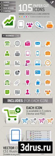 105 Papercut Icons – GraphicRiver