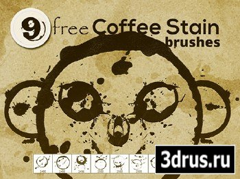 Coffee Stain Photoshop .ABR Brushes