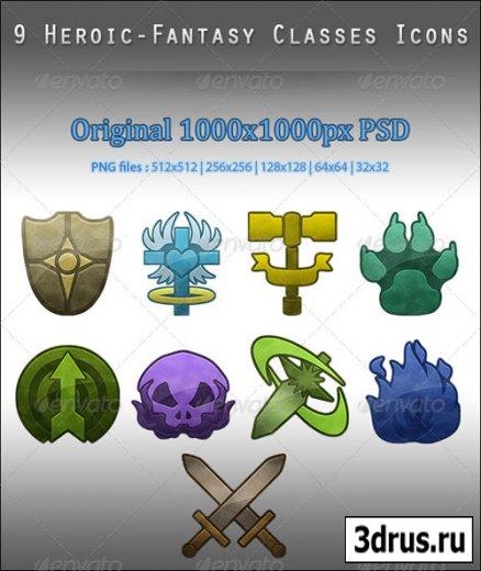 9 Heroic-Fantasy Classes Icons