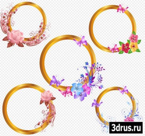 Рамки вырезы PSD для творческих работ с цветами и бабочками на прозрачном фоне