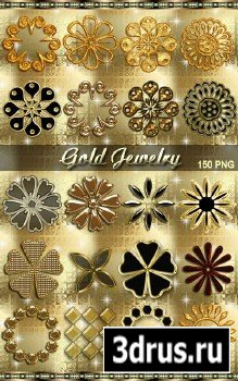 Клипарт png - Золотые украшения