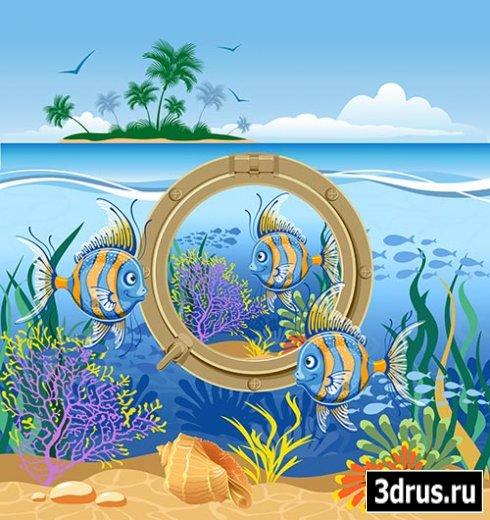 Клипарт мир моря многослойный PSD