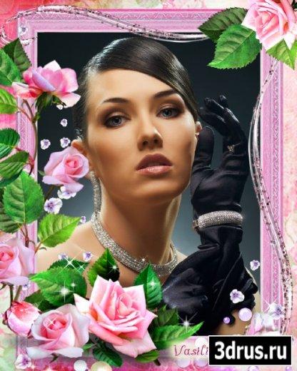 Цветочная фоторамка - Элегантность розовых роз