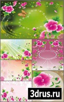 Векторные фоны Лето и цветы