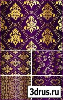 Фиолетовые текстуры с золотым орнаментом