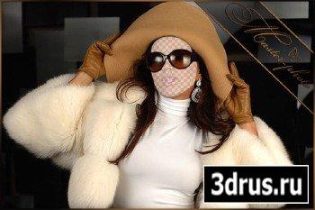 Шаблон женский для photoshop - Теплая шубка