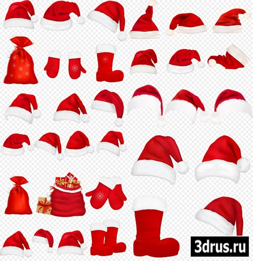 Клипарт - Новогодние шапки с бубенчиком варежки валенки мешки с подарками на прозрачном фоне PSD